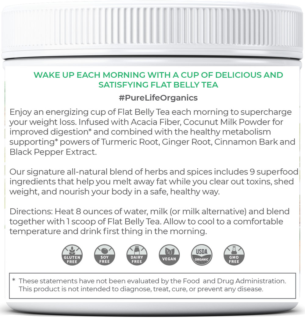 Text - Purelife Organics - Flat Belly Tea with Extra Strength Metabolism Support